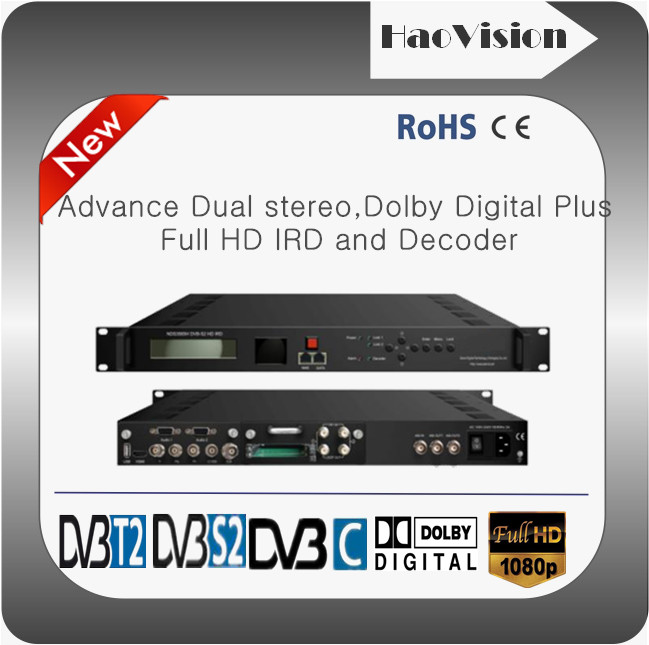 Superior quality 1080p Dual Dolby Digital,mpeg2/h.264 HD Recevier and Decoder with DVB-S2 RF,ASI/IP inputs;HDMI HDSDI,AV and IP