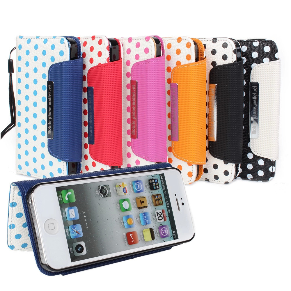 Hot sell fashion Wallet Mobile Phone Protective Case for Iphone 5 5s Ball Point design 2 In 1 over