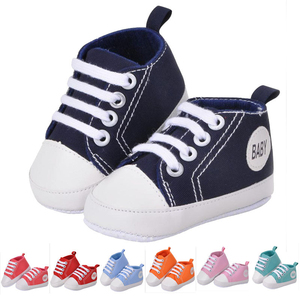 Baby Canvas Sneakers Non-slip Soft Sole Slip-on Shoes with Elastic Lace for Infant Toddler Boys and Girls First Walking