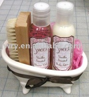 4PCS BODY LOTION AND SHOWER GEL BATH SET IN TUB WITH A RIBBON