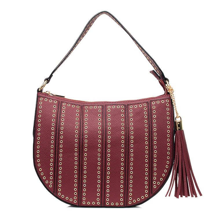 Wine color wide strap cross body lady satchel rivets bags with fringe