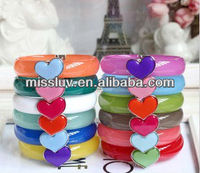 Fresh colorful jelly ringent magnet bracelets,striking heart charm bracelets,2013 Children's day best gifts bracelets
