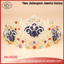 Wholesale Blue Red Crystal Gold Men Tiaras Crown of jewelry manufacturer