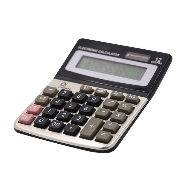 Standard Function 12 Digit Big Display Desktop Calculator with Dual Power