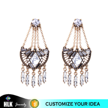 Fashion Rhinestione Turquoise Chain Earring Long Jhumka Style Tanishq Earrings Designs