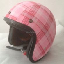 Motorcycle open face helmet with DOT CE approved pink motorcycle helmet leather casco german bell style vintage helmet