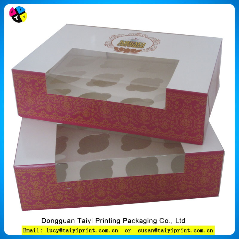 Recycle promotional mini cupcake box with insert and clear window
