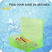 Printed black plastic shoe box wholesale with clear top