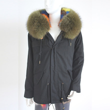 Myfur Customized Khaki Green Raccoon Fur Hood Navy Color Parka Jacket