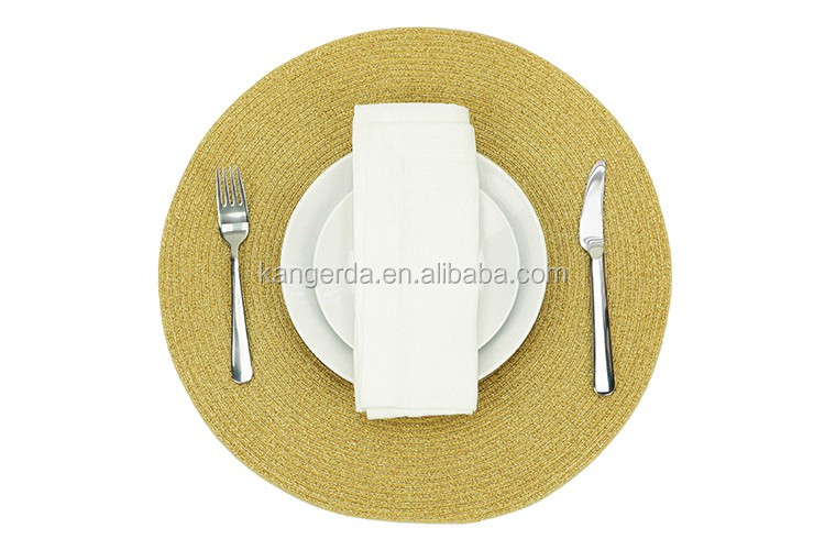 Sparkle Solid Round Polyester Lurex Table Placemats