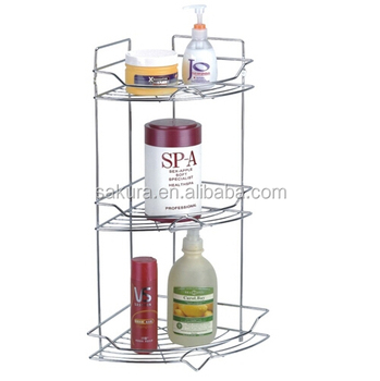 3 TIER CHROME WIRE STORAGE RACK FOR BATHROOM/ iron,or metal wire BATHROOM SHELVES