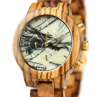 latest chronograph wristwatch, marble watch with all wood watch band, newest stone watch with stainless steel back