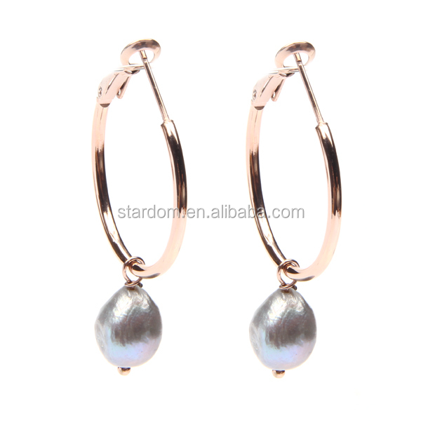 Daily wear freshwater pearl loop earrings