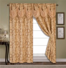 2pcs Luxuriant Yarn Dye Jacquard Window Curtain Set With Taffeta Backing With 2 Tassels