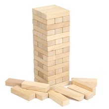 54PCS Beech Wood Color Block Set Children DIY wood block tower stacking tower DOMINO block