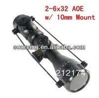 Tactical 2-6x32 AOE illuminated Scope Red Green Dot Riflescope 10mm Mounts