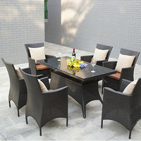Outdoor Polyrattan Garden 6 chairs and a dining table