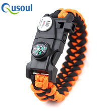 Orange Survival Paracord Bracelet For Water Swimming , Hiking Multi Tool, Whistle, Fire Starter 20-in-1 Set