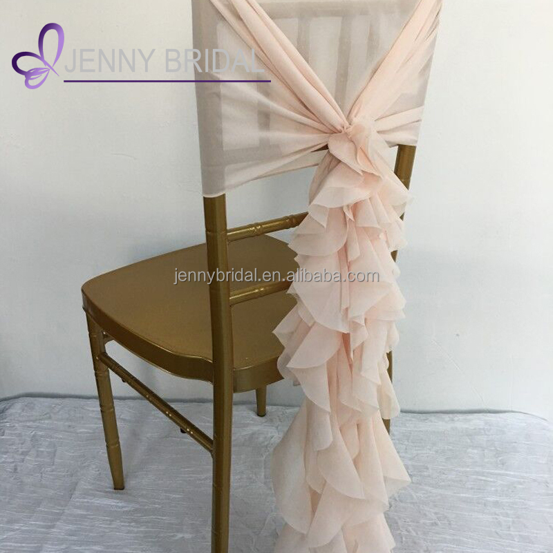C304N cheap christmas pink chiffon chair covers ruffled dental chair cover for weddings