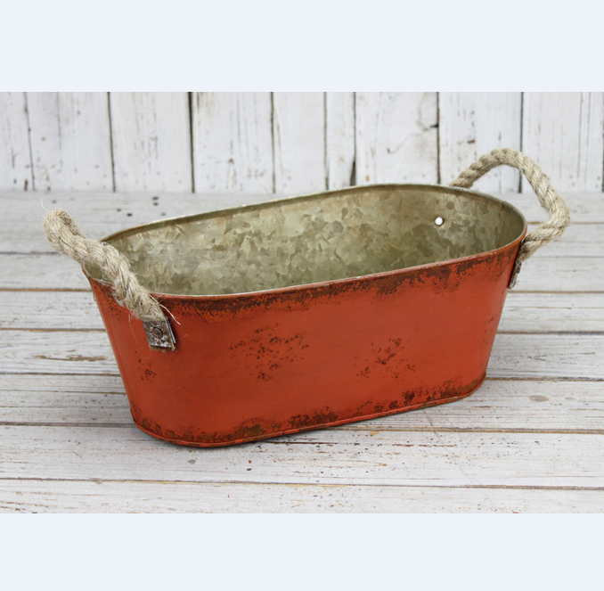 Factory sells garden flower trough vintage painting galvanized iron bucket with linen handles