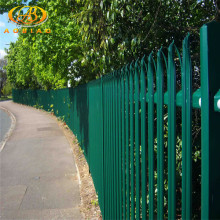 Metal pipe wrought iron steel security palisade fencing D type W type head powder coated