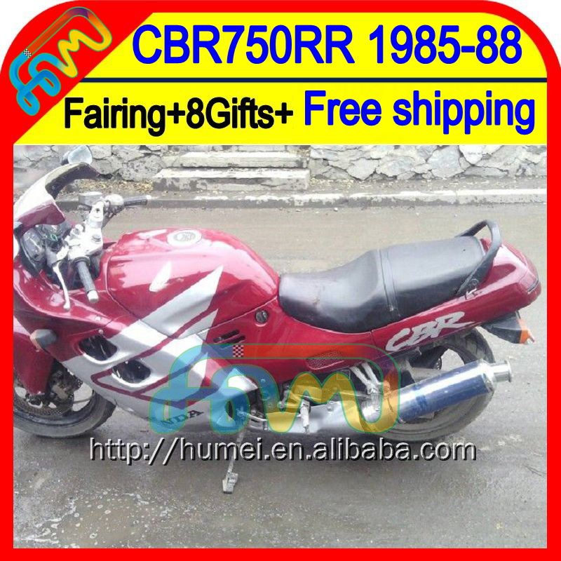 8Gifts For HONDA Red CBR750RR 85-88 CBR 750RR 44HM13 CBR750 RR CBR 750 RR 85 86 87 88 Red silvery 1985 1986 1987 1988 Fairing