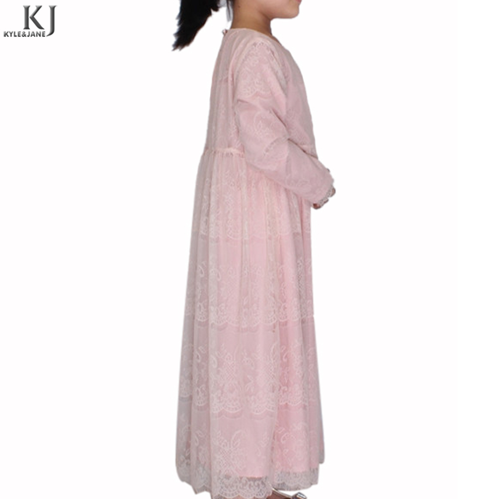 pink lace full layer lining kids garment abaya online in pakistan islamic childen clothing