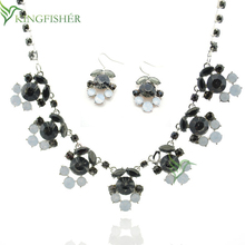 2014 New fashion jewelry set resin shourouk necklace and earrings, Ladies charm flower design resin jewelry set for wholesale