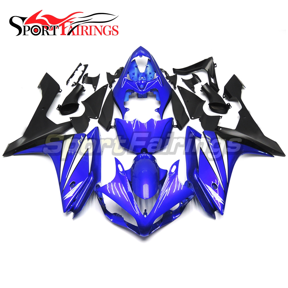 Full Injection <strong>Fairings</strong> For Yamaha YZF <strong>R1</strong> 07 <strong>08</strong> ABS Plastic Injection Motorcycle Kit Body Kits Blue Black Matt