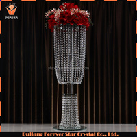 NEW Design crystal beaded two floor flower stand candelabra for wedding event