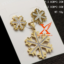 Wholesale Artificial Maple Leaves Shaped Earrings and Pendant Stainless Steel Plated Gold Jewelry Set