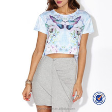 Wholesale Alibaba Round Neck Short Sleeve Bird And Flower Print Lady S Tops For Girl