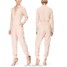 Fashion design stylish crepe well pattern long formal jumpsuits for women 2016