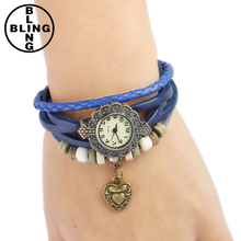 >>>Excellent Quality Quartz Weave heart Leather Dolphin Bracelet Lady Women's Wrist Watches Bracelet New Hot Sale for Gift/