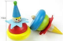 clown wooden/plastic gyro Spinning Top