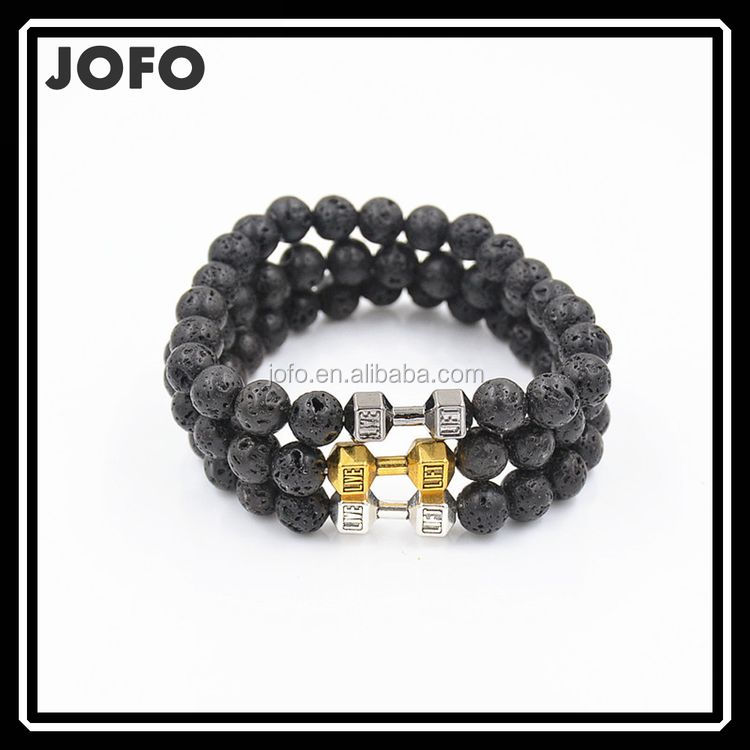 2017 Hot Sell Products 8mm Natural Black Lava Dumbbell Barbell Live Fitness Men's Beads Bracelet