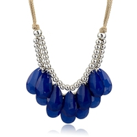 Latest Design Trendy Women Royal Blue Color Necklace Design Chunky Design Necklace