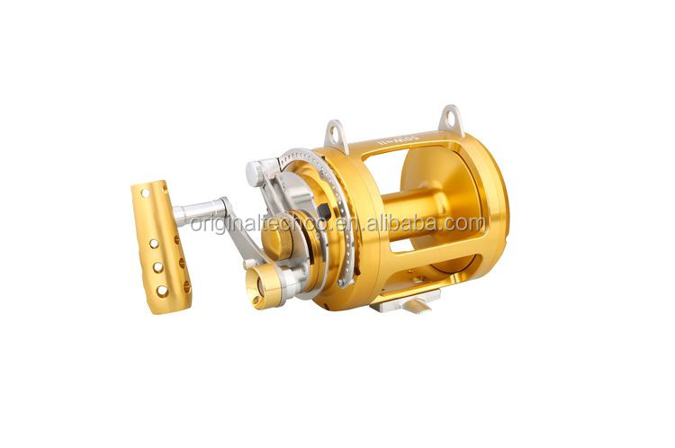 Ca Wholesale Cnc Machined Worm Shaft Big Game Golden Fishing Trolling Reel 80W