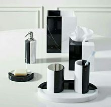 natural stone real marble black and white color bathroom accessories set