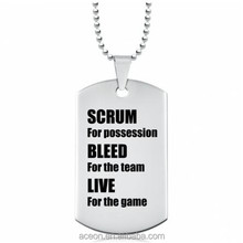 Yiwu Aceon Scrum for Possession Rugby Dog Tag Personal Engraved