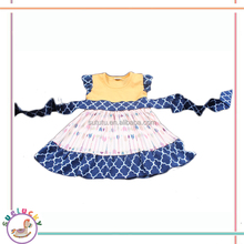 2016 latest qualified navy quatrefoil waist band unique arrow prints boutique designed cotton baby dress