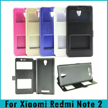 Double Window Silk Stand Magnetic Flip PU Leather Case For Xiaomi Redmi Note 2