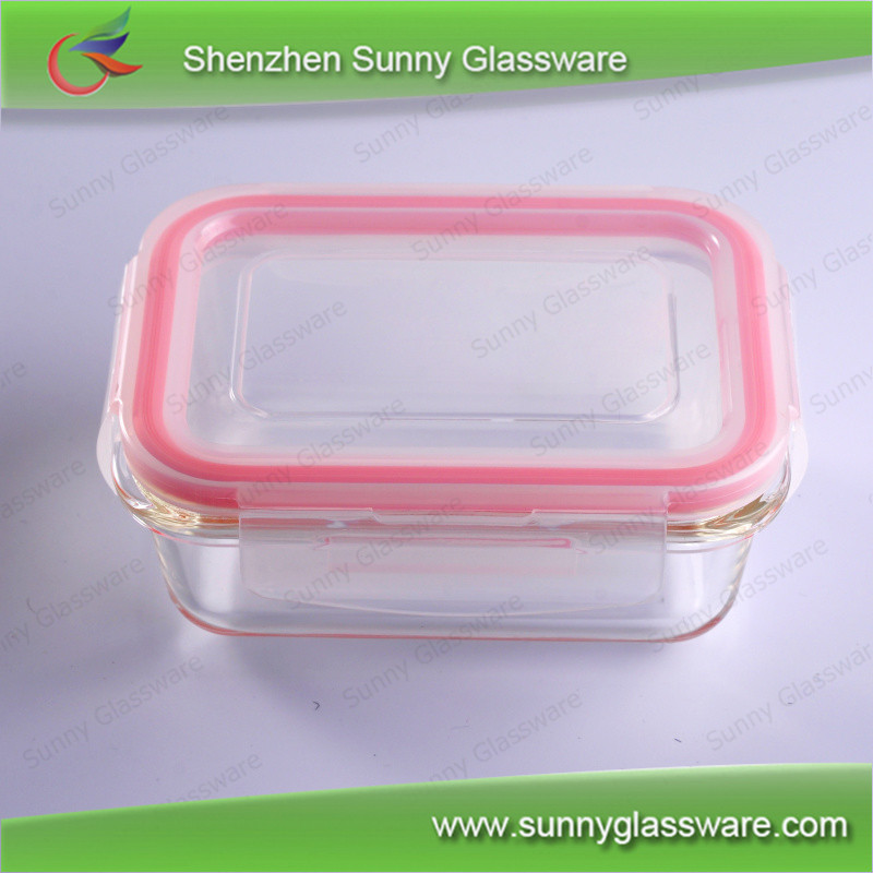 rectangle heat resistant airtight glass food container with lid