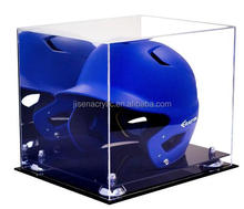 wholesale clear acrylic baseball helmet display case with mirror