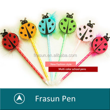 Korean stationery multi color cute animal ladybird shape PLUSH toy ball pen