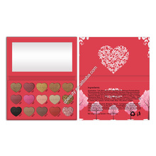 15 Colors Heart shape eyeshadow palette Custom Matte Glitter Shimmer eyeshadow powder OEM eyeshadow palette ODM Makeup palette