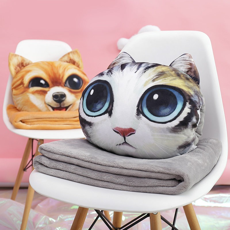 The simulation of 3D animal cat decorative pillow with blanket