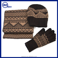 2016 Hot sale custom acrylic winter warm knitted scarf and hat sets wholesale jacquard hats scarves and touch sceen gloves sets