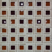 30x30 red beige travertine mix red homocentric square glass mosaic tile for swimming pool
