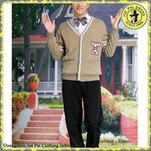 Khaki school uniform button up sweater